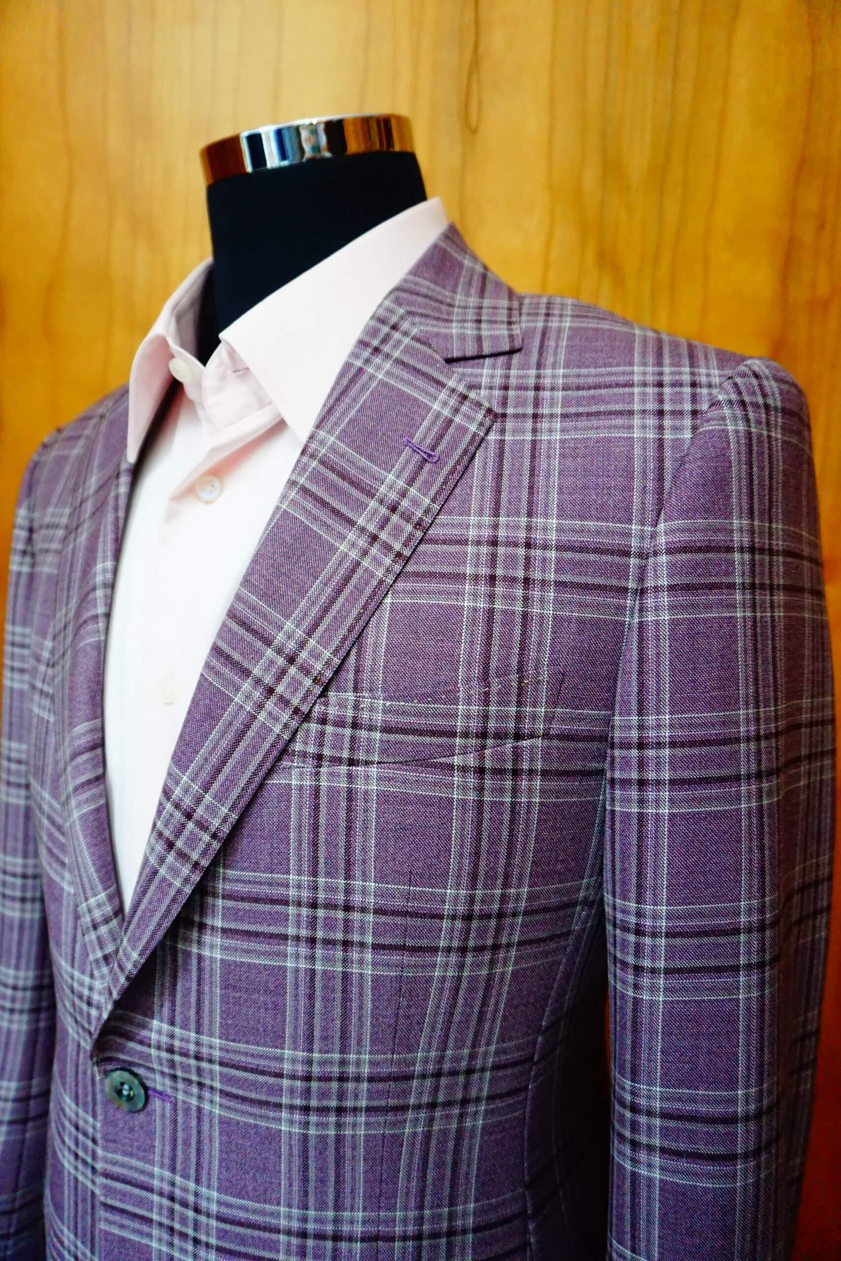 紫色格紋西裝